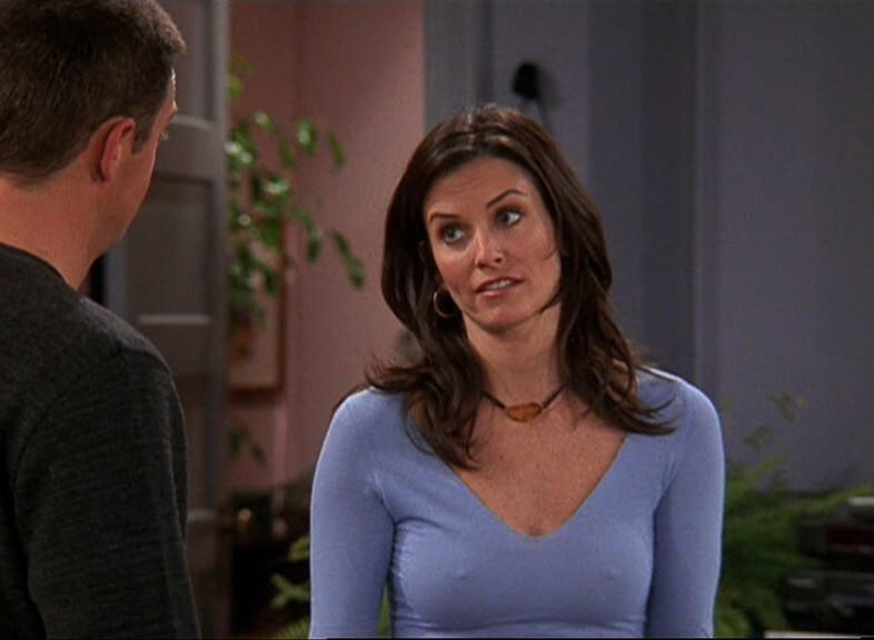 courtney cox nipples on friends blue top hot babe