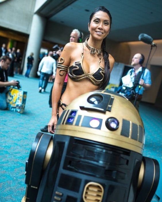 tan asian babe cosplay r2d2