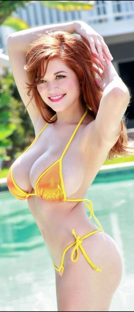 busty redhead at the pool yellow bikini