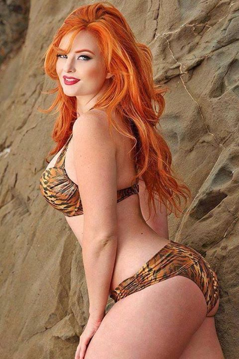 redhead with animal print bikini red