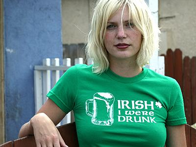 blonde irish chick with Irish I were drunk t shirt funny irish