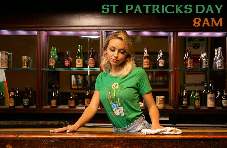 incredible hot bartender irish st. patty's day serve green beer