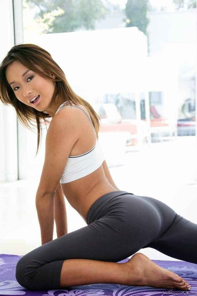 asian girl spandex stretching workout sweat
