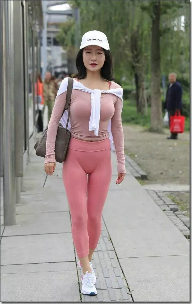 asian pink yoga pants busty round
