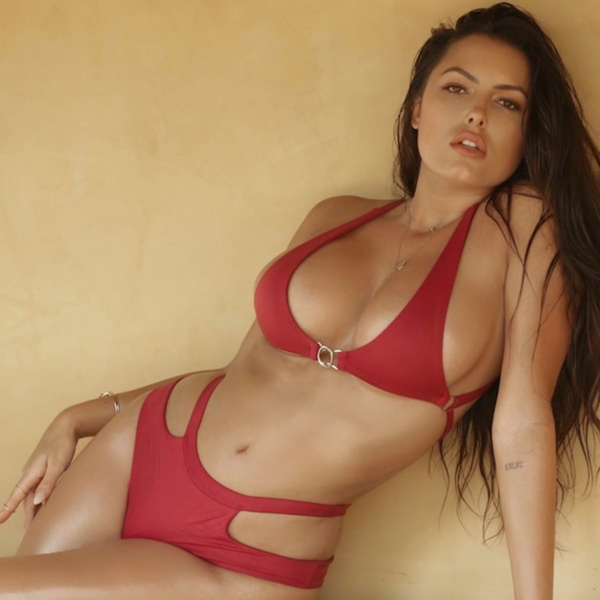 constance nunes outrageous hot red bikini