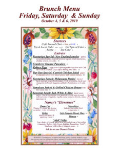 Oct. 4th, 5th, 6th, 2019 Brunch Menu