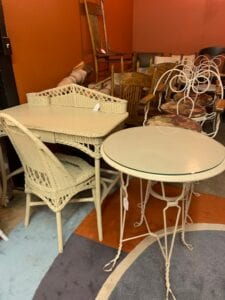 wicker desk and parlar table