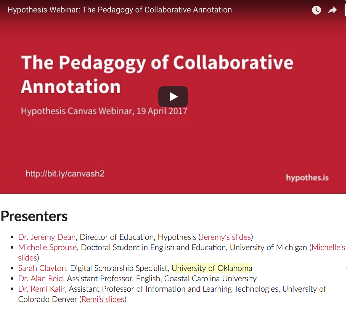 The pedagogy of collaborative annotation | Hypothesis Webinar