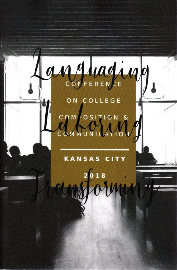 "Cover for CCCC 2018 Program ""Languaging, Laboring, Transforming"""