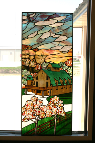 Custom Stained Glass Panel Featuring Owners Home Designed in Style of Old Barn