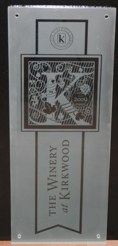 Etched Glass Panel for Kirkwood Community College Winery