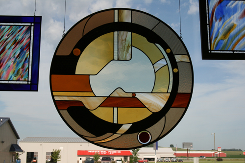Contemporary Panel with German Streaky Antique Glass