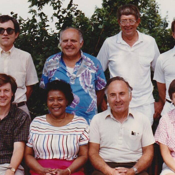 A 1987 photo of members of the Board of Directors of the Wisconsin Labor History Society. Shown are: (top row, from left) Michael Gordon, Joe Vollmer, Jim Reiland (guest), and Kelly Sparks; (seated, from left) Darryl Holter, Nellie Wilson, Mil Lieberthal, Joanne Ricca.