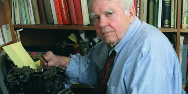 Andy Rooney at his typewriter