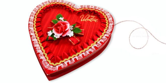 string attached to Valentine Heart Box