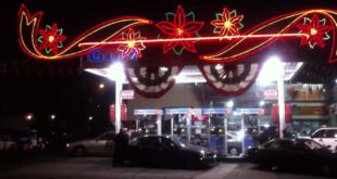 Gas station at Christmas time