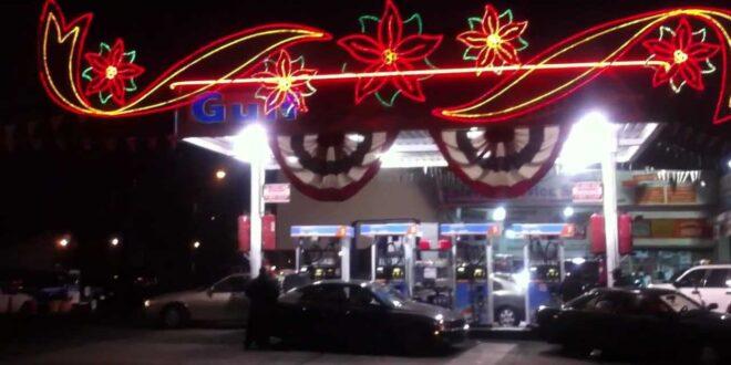 Gas station at Christmas time
