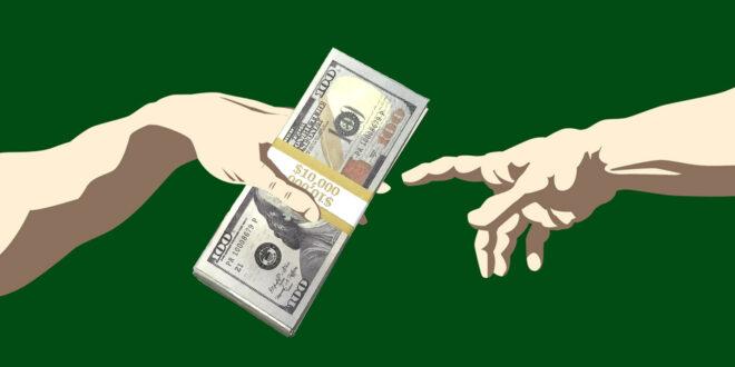 Adam hands over money to God's hand