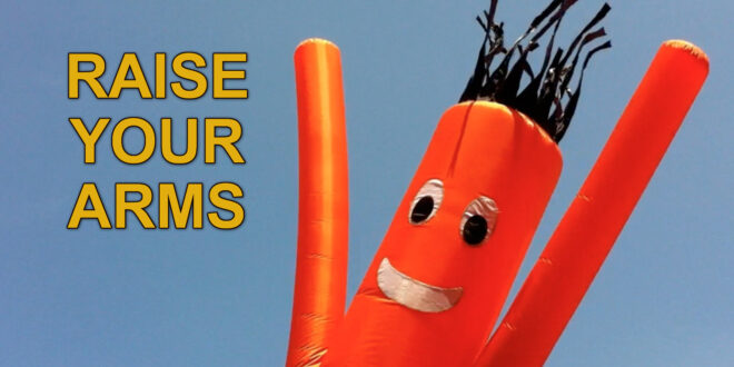 Inflatable Stick Man raising arms