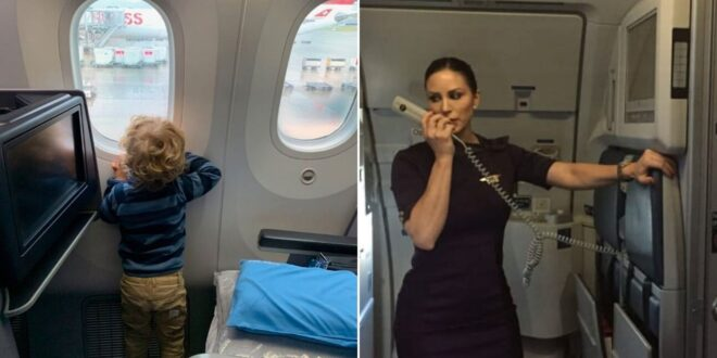 plane attendent makes announcement as child looks out plane window