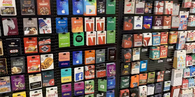 display of gift cards