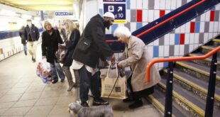 man helping elderly woman