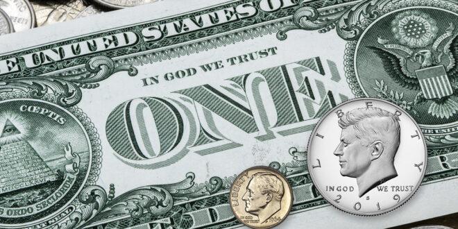 Dollar, dime and half dollar