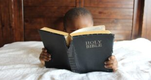 Child reading Christian Bible Stories