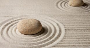 two stones on a beach of smooth, designed sand
