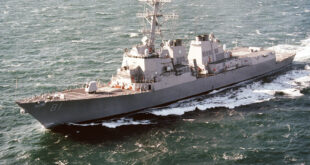 USS WINSTON S. CHURCHILL (DDG 81) Guided Missile Destroyer, port view.