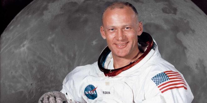 Buzz Aldrin in front of moon