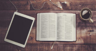 Bible, iPad and a cup of coffee