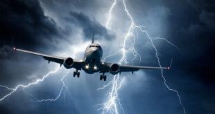 lightning striking around a jet plane