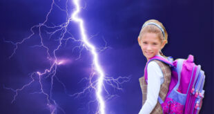 Girl with backpack talking about lightning story