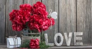 Flowers with the word Love