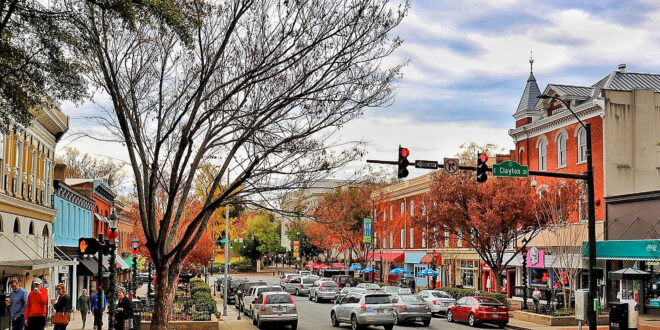 Downtown scene of Athens, GA