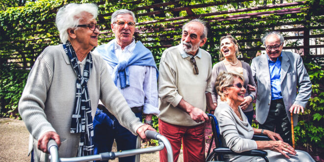 a group of happy retirees