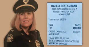 Sgt. Carrie Mills and receipt