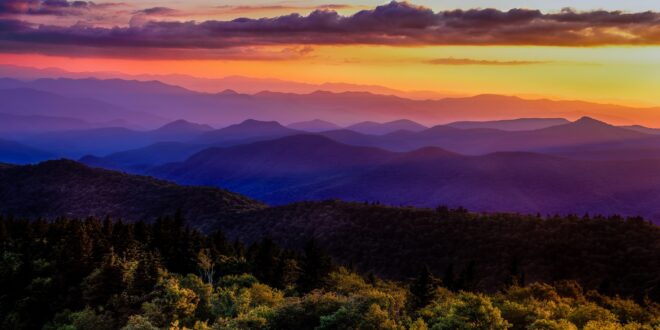Virgina mountain tops at sunset