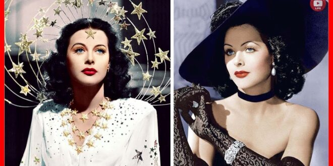 2 color photos of Hedy Lamarr