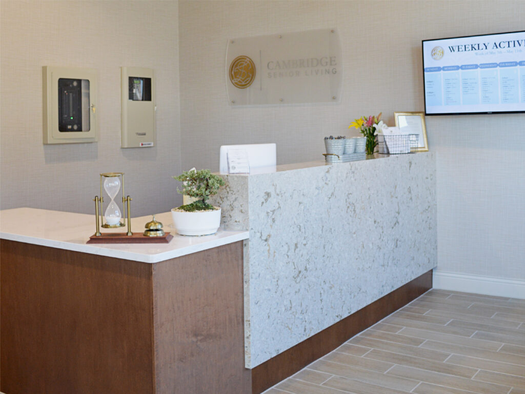 Front Desk / Reception Area. Welcome to Cambridge Senior Living!