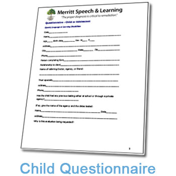 Child or Adolescent  Questionnaire for Speech, Language or Learning Disabilities