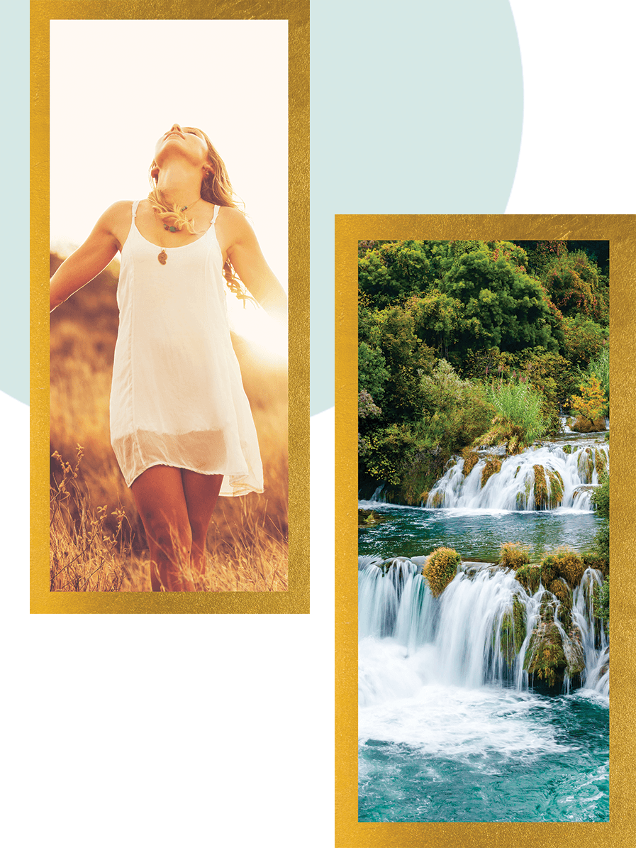 female embracing the sunlight in the outdoors with another picture of a waterfall