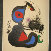 Fine art print by Modern artist Joan Miro before cleaning.