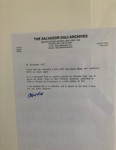 Dali - The Snow King: letter from Salvador Dali Archives