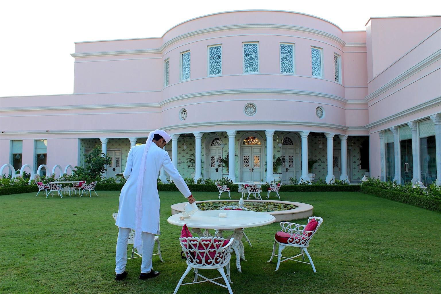 Tea on the lawn at Sujan Rajmahal Palace Hotel. Image: Katrina Holden