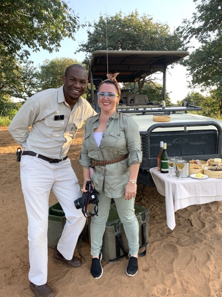 Katrina Holden with guide Cavin in Chobe National Park, Botswana. Credit: Felicity Tonkin