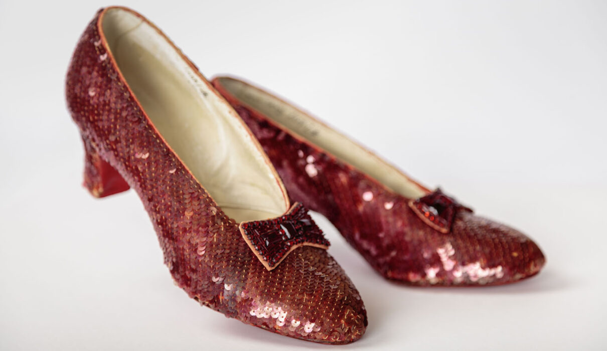 Ruby slippers designed by Adrian, from The Wizard of Oz (1939) Photo by Joshua White : JW Pictures : © Academy Museum Foundation