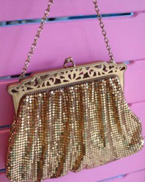 Vintage Whiting & Davis 1950s gold mesh bag