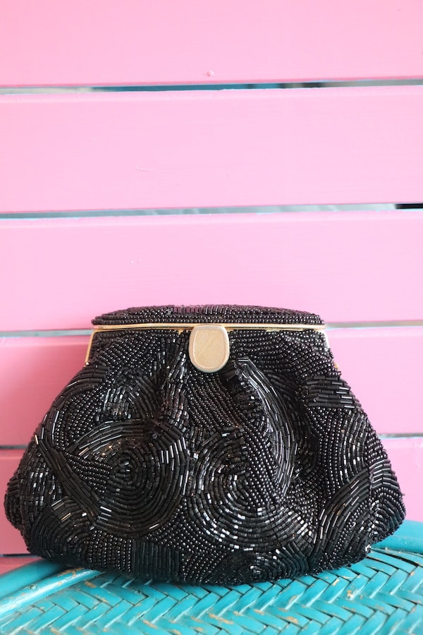 Vintage black beaded evening clutch
